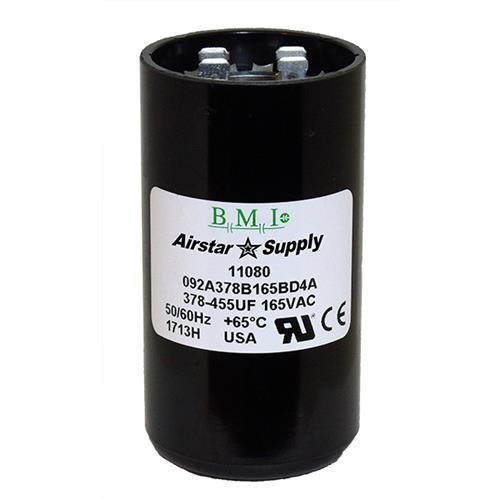 Pack 2 378-455 uF x 165 VAC BMI//USA Start Capacitor # 092A378B165BD4A with Bleed Resistor