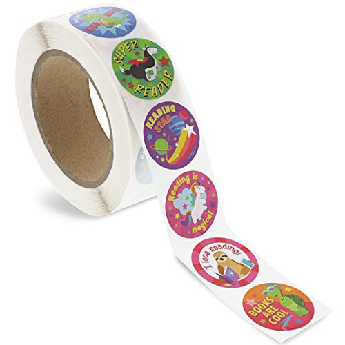 Juvale Teacher Reading Motivational Reward Stickers for Kids, 1000 Count Roll, 8 Designs, 1.5 Inches