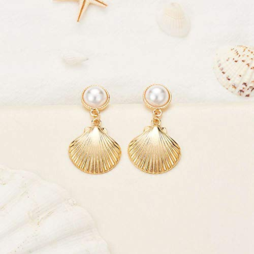 Personality Simple Pearl Shell Metal Scallop Star Earrings Ladies - Sterling Shell Ring Silver Scallop