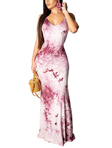 Women's Sexy Low Cut V Neck Sleeveless Backless Suspender Floral Print Summer Beach Long Swing Dresses Purple M -