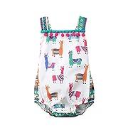 YAZAD Newborn Infant Toddler Baby Girls Colourful Alpaca Pattern Tank Tops Summer Bodysuit Romper Jumpsuit (80/6-12M, Multicoloured)
