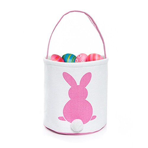 GWELL 4 PCS, Easter Bunny Basket, Foldable Gift Basket Bucket for Kids, DIY Gifts, Egg Hunt, Candies, Goodies, Canvas Bag with Bunny Tail Pompom by GWELL (Image #1)