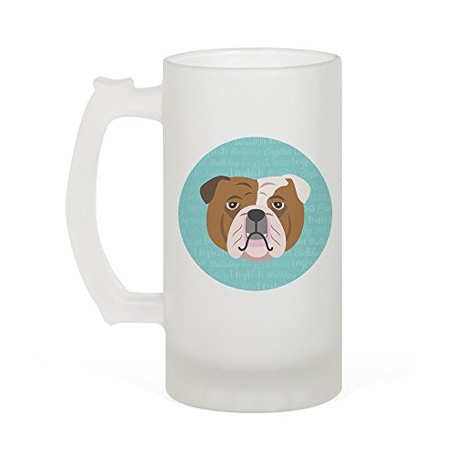 Adorable Dog Breed Specific 16oz Frosted Beer Stein (English Bulldog)