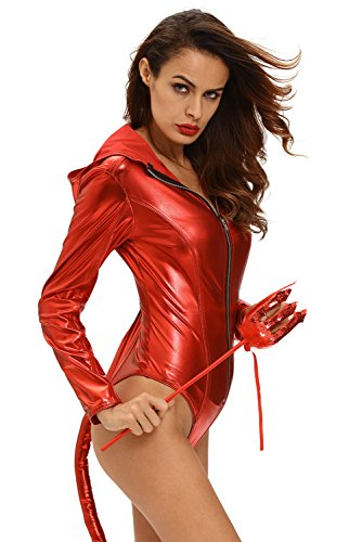 Hottie Devilish Costumes (Metallic Look Devilish Hottie Long Tail Hooded)