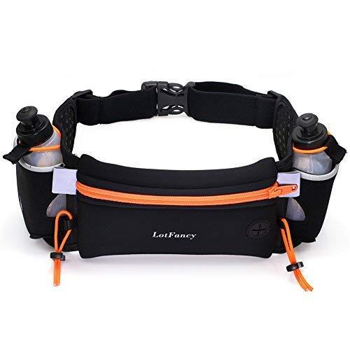 LotFancy 10A-1366-N Women and Men Running Fuel Belt with Water Bottle (BPA Free), Orange