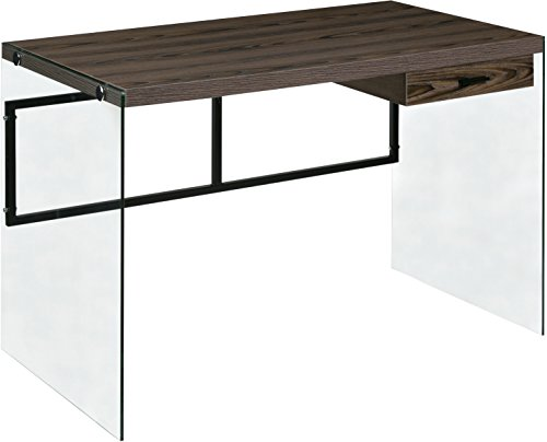 Glass Wide Computer Desk - OneSpace 50-JN19DSKWN Escher Skye Computer/Writing Desk, Walnut