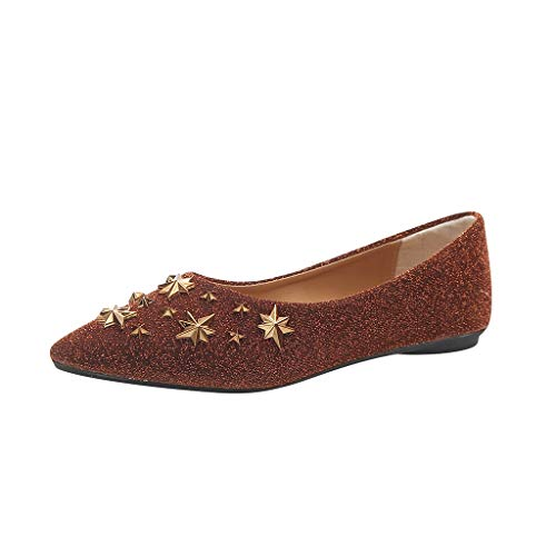 (Women Pointed Flat Shoes, Anshinto Fashion Star Shoes Ladies Shallow Loafers Casual Single Shoes)