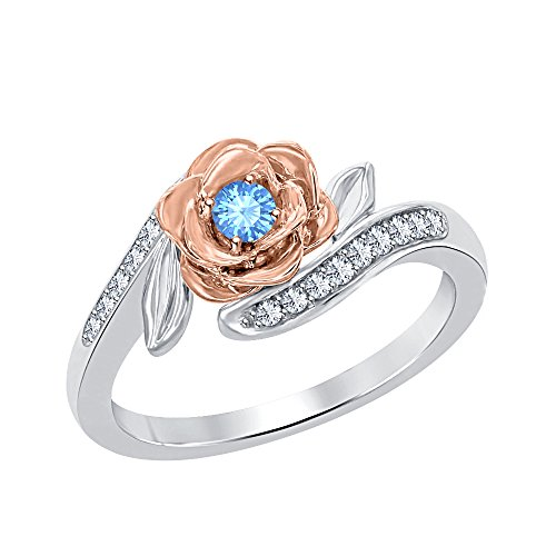 (RUDRAFASHION Lovely 0.35 ctw Belles 14k Two Tone Gold Over .925 Sterling Silver Created Blue Topaz & White CZ Fashion Ring-Flower Ring)