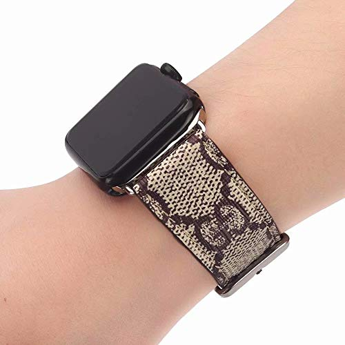 Fashion Leather Wristband - The ONE 42 Compatible Apple Watch Straps 42mm (fit for 44mm), Luxury Fashion PU Leather Classic Wrist Bands for Women and Men, Replacement for 42/44MM Apple Watch Series 4 3 2 1 (Monogram Brown)