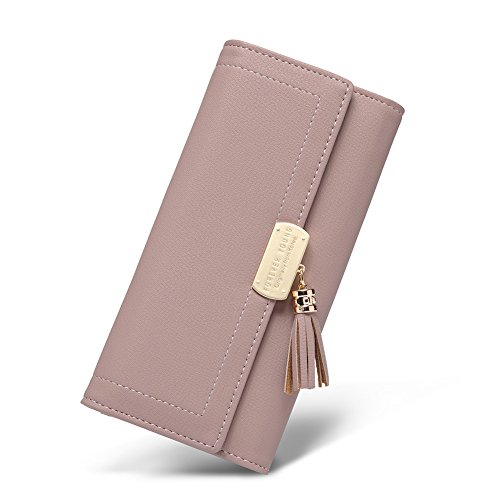 Women Wallet Soft Leather Designer Trifold Multi Card Organizer Lady Clutch Pink ()