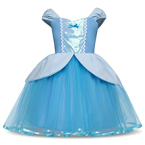Princess Girl Dress Little Mermaid Cinderella Rapunzel Costume for Toddler Girls Birthday Party Dress up 110cm -