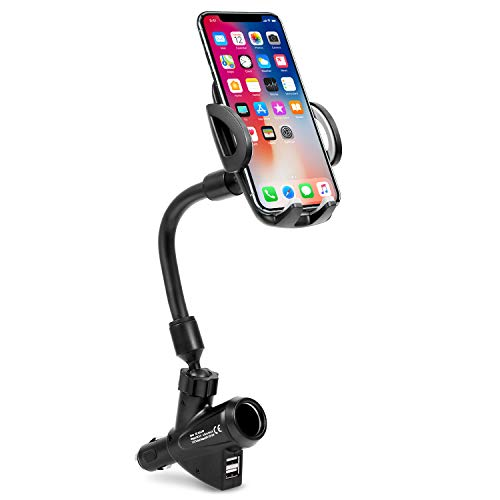 Cigarette Lighter Car Phone Mount, Amoner 3-in-1 Phone Holder Car Mount Car Charger Cradle with Dual USB 2.1A Charger for iPhone Xs XR X 8 7 6 6S Se 5S Galaxy S9 S8 S7 S6 LG Sony Nexus GPS and More