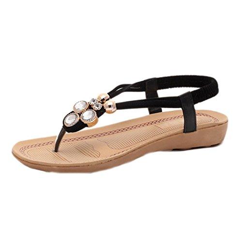TOOPOOT Summer Flat Shoes Women's Bead Bohemia Clip Toe Sandals (7) Black