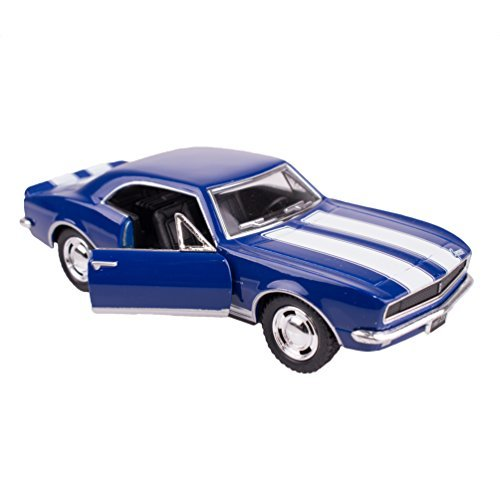 KiNSMART Sunnyside 1967 Chevrolet Camaro Z-28 Collectible Car Toy (Blue with White Stripes)