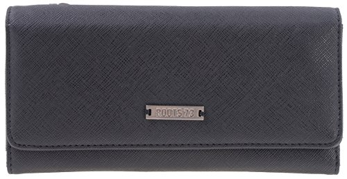 Pleated Top Zip Wristlet (Roots 73 Women's Graphite Collection RFID Protected Slim Clutch Wallet with Top Back Zip (Black))