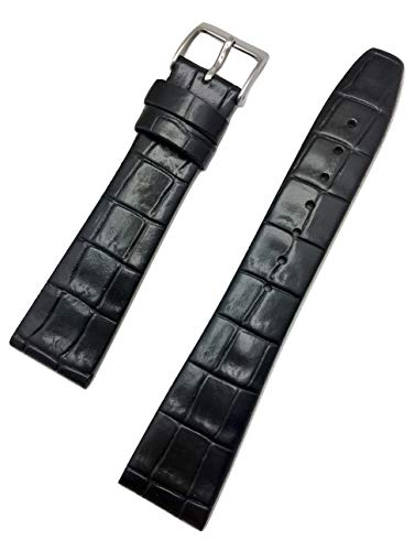 20mm Black Genuine Leather Watch Band | Square Croco Alli Grain, Flat Replacement Wrist Strap that brings New Life to Any Watch (Mens Standard - Croco Watch Grain Band