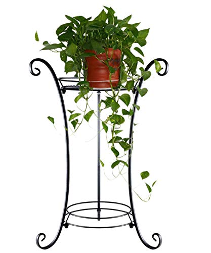 Wrought Iron Plant Stand - AISHN Classic Tall Plant Stand Art Flower Pot Holder Rack Planter Supports Garden & Home Decorative Pots Containers Stand (Black)