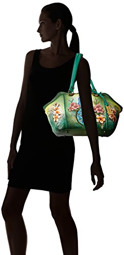 Anuschka Hand Painted Leather Large Wide Satchel, Passionate Peacocks by ANUSCHKA (Image #7)