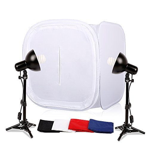 "Table Top Photo Studio Shooting Tents Foldable Lightbox Kit 32 x 32"" (80x80cm) Photography Lighting Soft Box with 4 x Backdrops (Black White Red Blue), 2 x 27"" Light Stands, 2 x 45W Daylight Fluoresce"