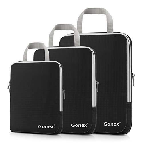 Compression Packing Cubes, Gonex Travel Organizers Upgraded 3PCS L+M+S(Black)