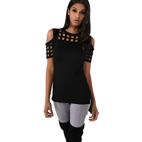Ladies Strapless Top (Transer Women Fashion Strapless Hollow Out Short Sleeve Casual T-Shirt Tops Blouse (L, Black))