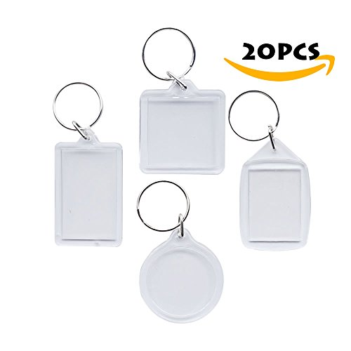 - Homexpert® Keychain Picture Frame,Small Acrylic Photo Frame Snap-in Keyring, Wallet Size Set of 20 -(5 x 4Type)