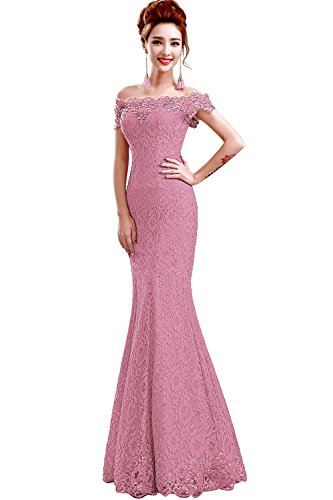 Babyonlinedress Scalloped Off Shoulder Ball Gowns for Women Formal,Dusty-Pink,16