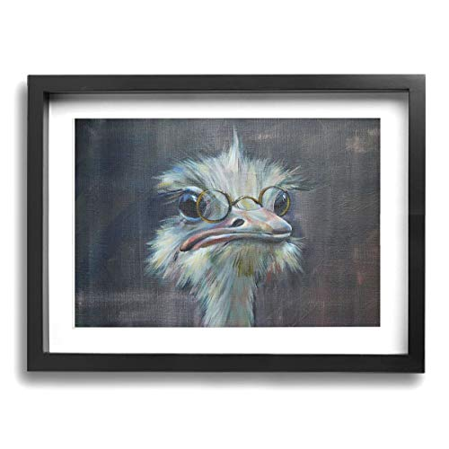 Framed Modern Canvas Wall Art Funny Ostrich, Oil Painting Pictures Decor with Mat Ready to Hang for Home Kitchen Bathroom Office - 12 X 16 Inch