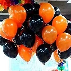 10'' Halloween Black and Orange Helium Balloons, 100 Pcs