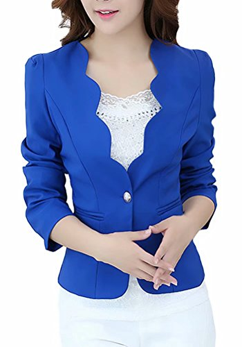 - Women's One Button Slim Fit Casual Office Blazer Suit Jacket Coat Royal Blue US 2 = Tag M