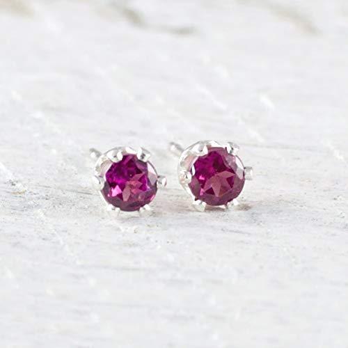 Post Earrings Garnet 3mm - Gemstone Stud Earrings Rhodolite Garnet 3mm Sterling Silver January Birthday