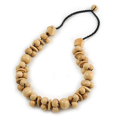 Avalaya Chunky Natural Wood Bead Necklace with Black Cotton Cord - 76cm L