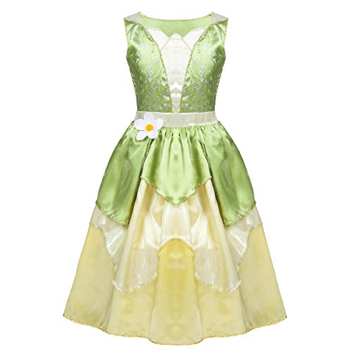 easyforever Kids Girls Halloween Cosplay Party Costume Sleeveless Glittery Flower Fairy Princess Dress Light Green&Yellow M-(130) -