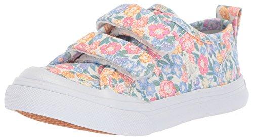 Polo Ralph Lauren Kids Girls' Karlen EZ Sneaker, White/Elite Blue Floral, 7.5 Medium US Toddler