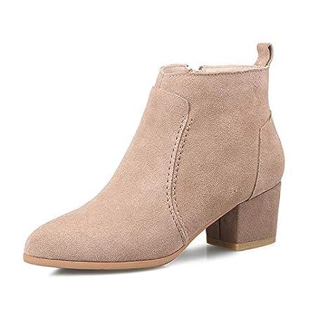 Lianaii Stivali da donna Scarpe Tacco Grosso in Pelle Stivali Corti  Smerigliati Stivali Martin Cammello 34 e8162c2c5a2