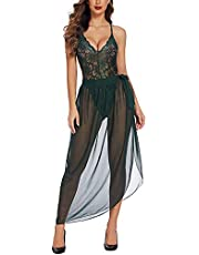 Avidlove Women Lingerie Sexy Nightgown 2 Pieces Set Lace Teddy Sheer Wrap Skirt