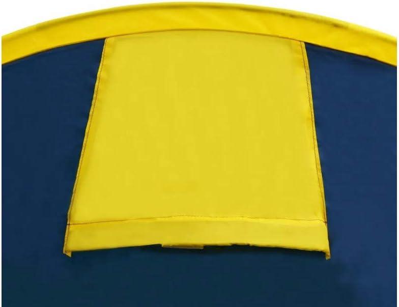 Pesca y Al Aire Libre Tienda de Campa/ña Impermeable con Bolsa de Transporte para Picnic Tienda de Campa/ña Familia 4 Personas Azul Marino y Amarillo Senderismo