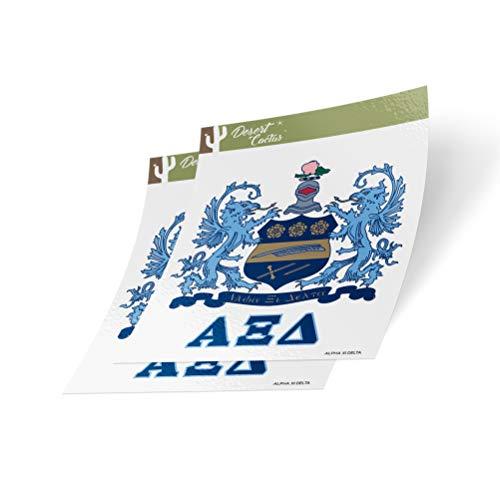 (Alpha Xi Delta Crest & Letter 2-Pack Sticker Decal Greek for Window Laptop Computer Car)