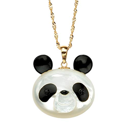 Genuine White Mother-Of-Pearl and Reconstituted Onyx 14k Yellow Gold Panda Bear Pendant