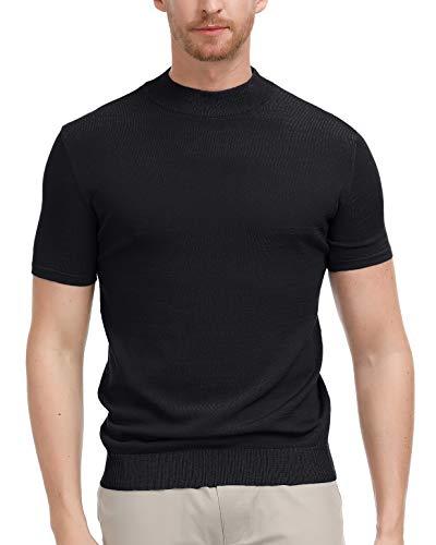 (Men's Lightweight Short Sleeve Turtleneck Sweater Mock Neck Pullover Sweater Tops Black, Size XXL)