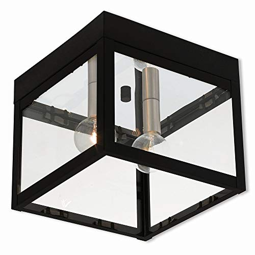 Livex Lighting 20588-04 Nyack 2 Light Outdoor Ceiling Mount, Black