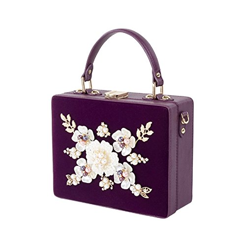 Crossbody Pearl Chain Crystal Bag Clutch Women Flower GAOXIA Bridal Bags Party Diamond Handbag Luxury Hard Box purple Velor Wedding Evening SxqpB