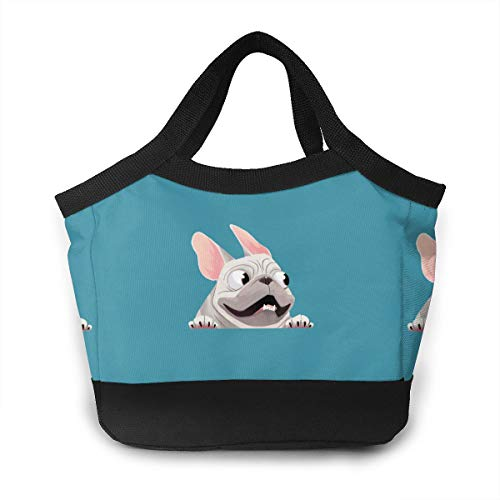 Tanyeflw Waterproof Lunch Bags French Bulldog Tote Bag Large for School Work