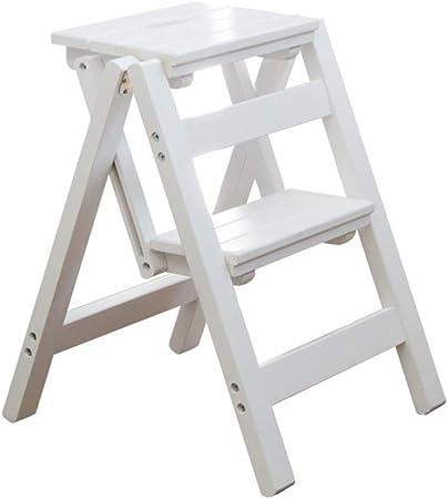 Qi Tai Multifunción Escalera del Taburete 2 Banda de Rodadura de Cocina de Madera sólida Paso heces taburetes Altos Escalera Portátil Inicio Flor Bastidor Plegable Escaleras 38x42x52cm Pedal Escalera: Amazon.es: Hogar