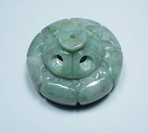 gojade Certified Green100% Natural A Jade Jadeite Display Flower Snuff Bottle Incense Holder 莲花香座 700849