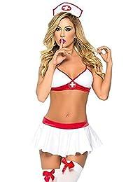 M_Eshop Women Cosplay Sexy Nurse Uniform Naughty Lingerie Costume with Stockings