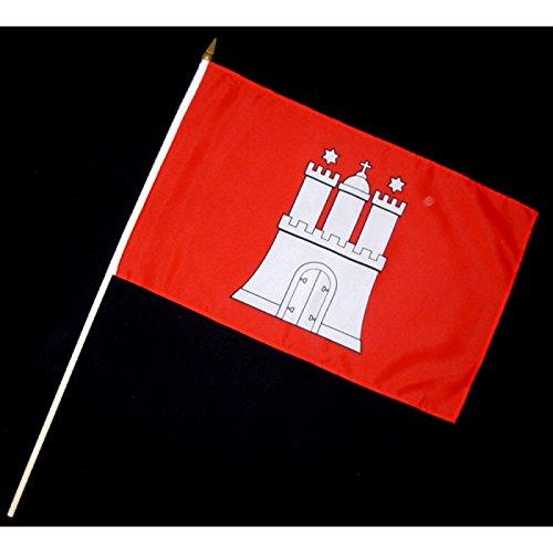 Stock-Flagge 30 x 45 : Hamburg