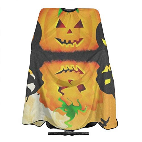 Halloween Pumpkin Parttern Barber Salon Cape Apron Makeup Comb Out Cape Bib, Salon Hair Dye, Shampoo, Chemical Waterproof Gown Cloth for -