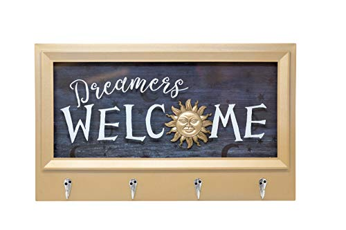 Boston Warehouse Shadow Box with Hanging Hooks Dreamers Welcome