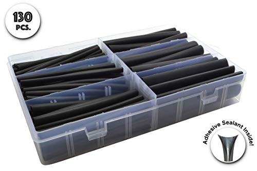 130 PC. Dual Wall Adhesive Marine Heat Shrink Kit - 3:1 Shrink Ratio - -